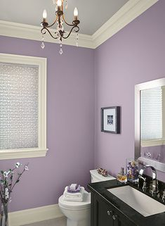 A glamorous purple bathroom with a feminine touch. BM paints walls: central mauve 1412 ceiling: stonington gray HC-170 trim: ivory tusk 2153-70