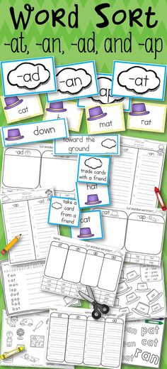 Word Sort -at, -an, -ap, and -ad Harcourt Trophies 1st Grade Story The Hat