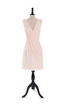 Elegant V-neck chiffon dress for birdesmaid in short length