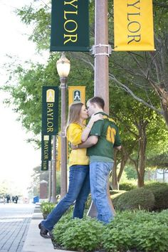 Love this engagement photo for two #Baylor Bears -- on campus, in their Line jerseys! #sicem (click for more from the most #BaylorProud wedding ever, including the wedding party with Judge Baylor and the BU groom's cake)