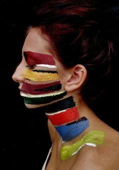 nezart design, bodi art, body paintings, color stories, bodi paint, stripe