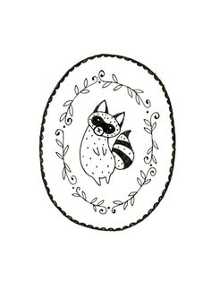 Raccoon Embroidery Pattern PDF Digital Downloadable. $2.00, via Etsy.