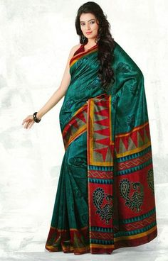USD 38.17 Green Printed Silk Saree   37121
