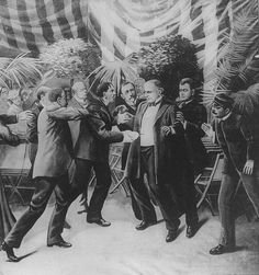 September 6th 1901: McKinley was shot by anarchist Leon Czolgosz at the Pan-American Exposition in Buffalo, New York. The President died from gangrene which developed from the bullet wounds on September 14th and was succeeded by his Vice-President, Theodore Roosevelt.