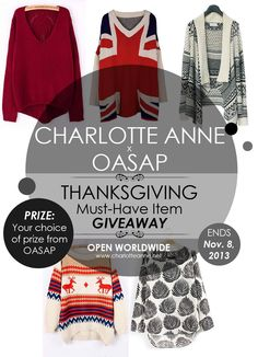 Charlotte Anne x OASAP Thanksgiving Must-Have Item Giveaway - ENTER TO WIN your choice of OASAP prize here: http://wp.me/p3V93o-dW [OPEN WORLDWIDE - ends 11/08/13]