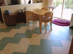 Linoleum tiles are an excellent DIY project that can save money while making your home's floors like new. Create a midcentury modern aesthetic with no problem. Just lay down some tiles in a zigzag pattern of alternating colors, and you'll think you've gone to the days of Leave It to Beaver but with your own modern stamp.