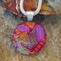 Round Fused Glass Pendant Dichroic Fused Glass Pendant by GlassCat, $28.00