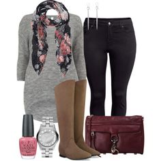 Floral Top and Grey Tunic :)