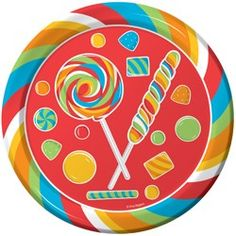 Candy Party Supplies, Candy Dinner Plates, Candy Party Tableware