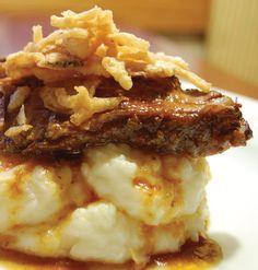 Slow Cooker Beef Brisket over Garlic Parmesan Mash Potatoes