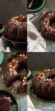 Deliciousness!!! Chocolate Bundt Cake with Snicker Chocolate Galze...