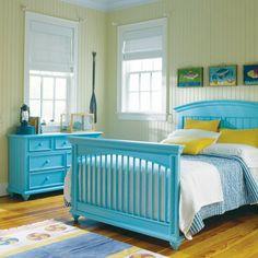 #bedroom #blue #coastal #beachy #beach #wood #dresser #bed