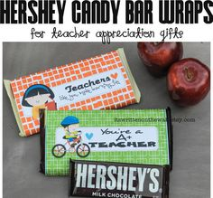 """See our newly designed Teacher Appreciation Hershey Candy Bar Wraps--Perfect for beginning of the school teacher gift!    We've changed """"You're a A+ Teacher"""" to """"You're an A+ Teacher"""""""