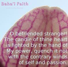O BEFRIENDED STRANGER! The candle of thine heart is lighted by the hand of My power, quench it not with the contrary winds of self and passion. The healer of all thine ills is remembrance of Me, forget it not. Make My love thy treasure and cherish it even as thy very sight and life.  Baha'i Faith