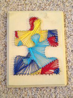 Custom Nail and String Art by inTulsa art auction, string nail art designs, crafti, autism awar, custom nail, fsu nails, stringart, nail and string art, nail art designs autism