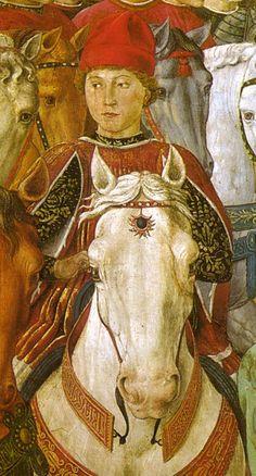 Benozzo Gozzoli, Viaggio dei Magi, ritratto di Galeazzo Maria Sforza, 1459. Firenze, cappella di Palazzo Medici Riccardi