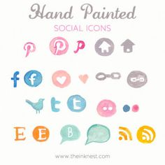 For all you bloggers... Hand Painted Social Icons. Via @Cool Mom Tech.