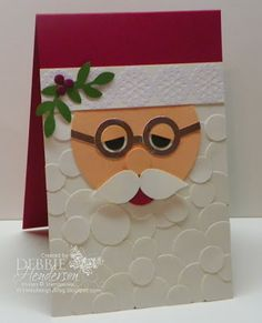 Stampin' Up! circle punches for Santa. Get a listing of the supplies I used for my Punch Art on my blog. Debbie Henderson, Debbie's Designs.