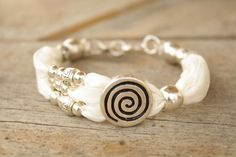 Natural Silk Bracelet accented with European Beads