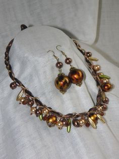 Beaded necklace/ brown /safari/ spring fashion /summer by Marywool, $23.00