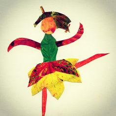 Keana's ballerina, made with color prints of fall leaves. #artprojectsforkids.