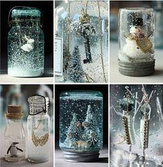 Homemade mason jar snow globes.
