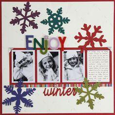 Winter Scrap Page craft, scrapbook layouts, enjoy winter, scrapbooks, scrapbook idea, felt winter, winter scrapbook, scrapbook pages, color snowflak