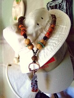 Agate Chunk Wood and Gemstone Necklace for Women by MereTrinkets, $35.00