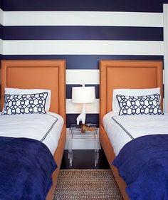 Navy Horizontal Stripes on Bedroom Wall  /love  www.nurserynotations.com