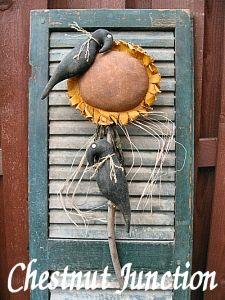 Crow Flower primitive sunflower pattern  epattern by Chestnut Junction.