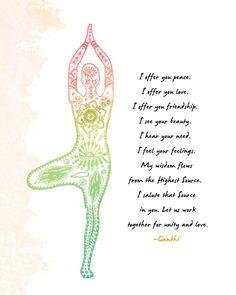 Yoga Art Tree Pose  8x10 Metallic Print Gandhi by LeslieSabella, $20.00