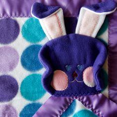 Bunny security blanket purple teal polka dot by SuziesImaginarium,