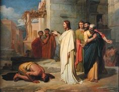 "Jesus Heals the Leper.    BIBLE SCRIPTURE: Luke 5:12, ""And it came to pass, when he was in a certain city, behold a man full of leprosy: who seeing Jesus fell on his face, and besought him, saying, Lord, if thou wilt, thou canst make me clean."""