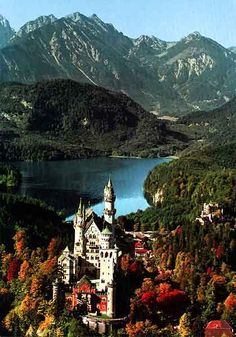 Neuschwanstein, Germany, castle romance, fairy tale, hill, woods, sky, autumn