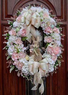 Victorian Easter Wreath Shabby Rabbit