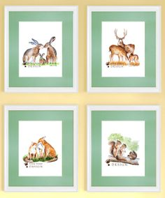 Woodland Nursery Art  Bunny Baby Deer Fox by TinyToesDesign, $84.00