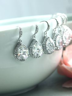 Set of 5 Cubic Zirconia White Crystal Earrings. Perfect for bridesmaids!