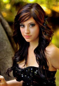 2012 hair, black hair, red highlight, new hair colors, hair color ideas, brown hair, curly hair, bang, caramel highlight