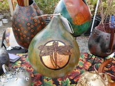 Dharma Trading Co. Featured Artist: Marcie Falconetti- hand carved and dyed/painted gourds
