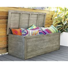 Rooftop deck: bunker storage chest-bench in outdoor furniture | CB2 $329