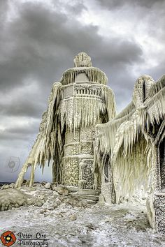 St. Joseph Michigan Lighthouse Covered In Ice