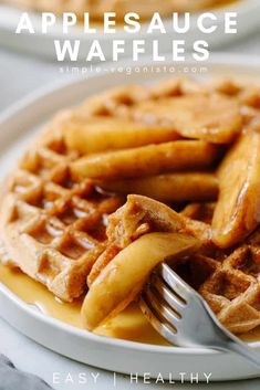 Warm and delicious homemade applesauce waffles, made with simple ingredients and perfect for a healthy breakfast the whole family with love! This easy waffles recipe is light and crispy on the outside, soft and fluffy on the inside - and perfect every time!