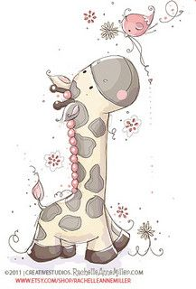 A Tall Friend by Rachelle Anne Miller, via Flickr. babi bilder, friends, tall friend, jirafa, dibujo, cute clipart, birds, babies rooms, giraffe clipart