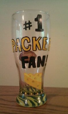 Hand Painted Green Bay Packers Glass by PaletteArtWorks on Etsy, $23.00
