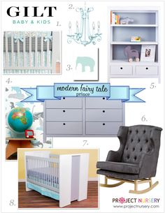 "Project Nursery's ""Modern Fairy Tale"" Design Board. Fit for a Prince. #baby #nursery #gilt"