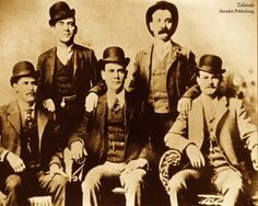 "April 13, 1866: Robert LeRoy Parker, better known as American outlaw ""Butch Cassidy,"" was born in Beaver, Utah. Butch Cassidy, pictured here with the Wild Bunch: Harvey Logan (back left), Will Carver (back right), Harry Longbaugh, alias ""The Sundance Kid"" (front left), Ben Kilpatrick (front center), and Robert Leroy Parker, alias ""Butch Cassidy"" (front right)."