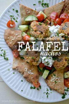 Falafel nachos (gluten, egg, and dairy-free)