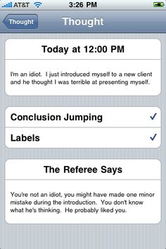 Best Cognitive Behavioral Therapy (CBT) iPhone and Android App - cbtreferee.com