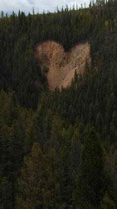 Heart shaped rock slide.