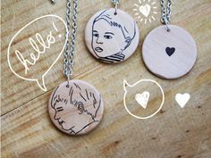 mother's day gift: illustrated custom pendants, and with super fast turnaround. So cute!